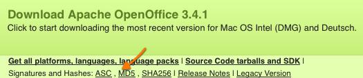 MD5 bei OpenOffice