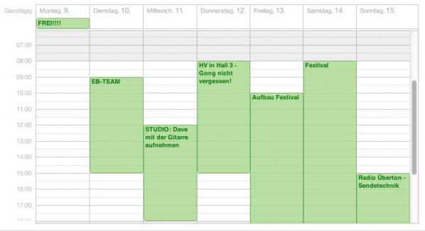 Kalender eines Tontechnikers