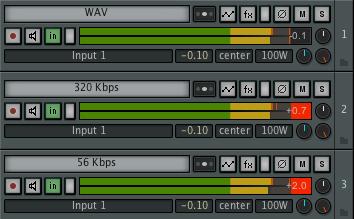 Als MP3 besitzt die Datei eine höhere Aussteuerung.