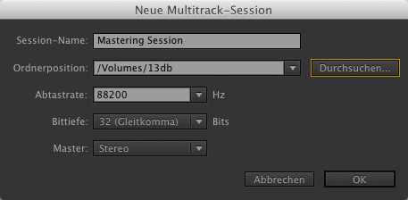 Mastering Neue Multitrack Session