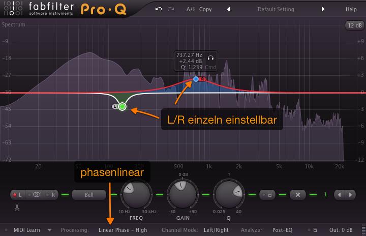 Der Pro Q ist linear und kann beide Kanäle getrennt bearbeiten