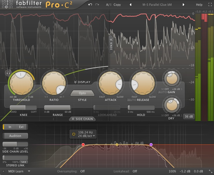 Mastering Stereo Side Compression