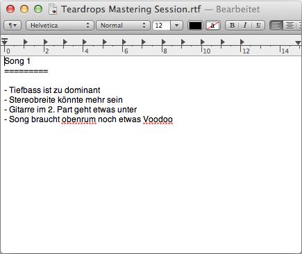 Notizen Mastering